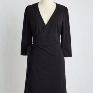 Modcloth Black Wrap Dress